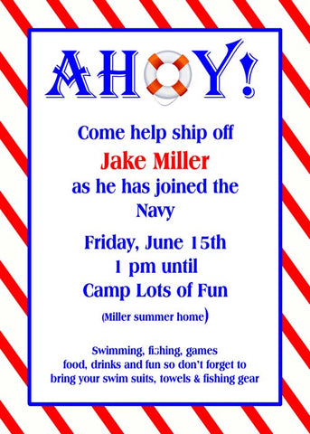 AHOY DIAGONAL STRIPE CUSTOM INVITATION