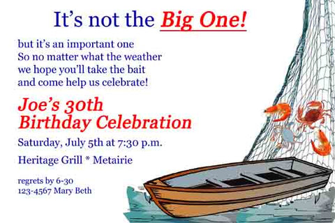 FISHING BOAT THE PIROGUE CUSTOM INVITATION