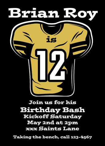 FOOTBALL JERSEY CUSTOM INVITATION