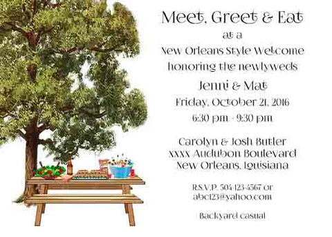 PICNIC TABLE UNDER THE OAKS CUSTOM INVITATION
