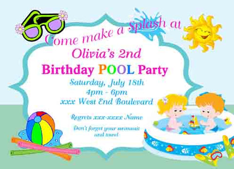 CHILDREN IN POOL CUSTOM INVITATION
