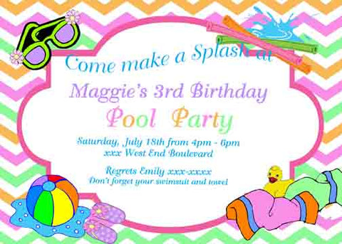 POOL ITEMS CUSTOM INVITATION