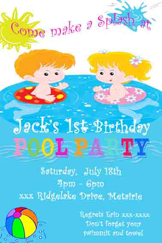 BOY AND GIRL IN POOL CUSTOM INVITATION