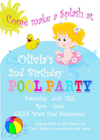 YOUNG GIRL IN POOL CUSTOM INVITATION