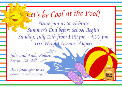POOL THINGS CUSTOM INVITATION
