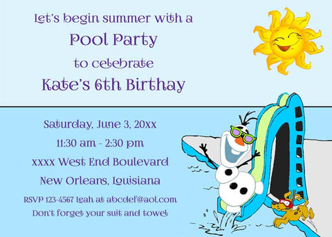 OLAF AT POOL CUSTOM INVITATION