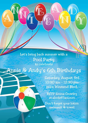POOL AND BALLOONS THINGS CUSTOM INVITATION
