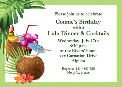 COCONUT DRINKS CUSTOM INVITATION