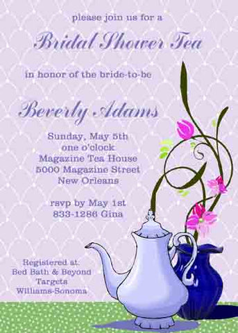LAVENDER TEAPOT CUSTOM INVITATION