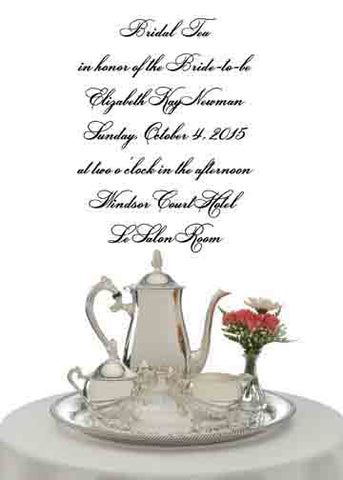 SILVER TEA SERVICE ON TABLE CUSTOM INVITATION