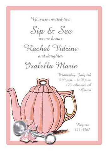 TEAPOT AND RATTLE CUSTOM INVITATION