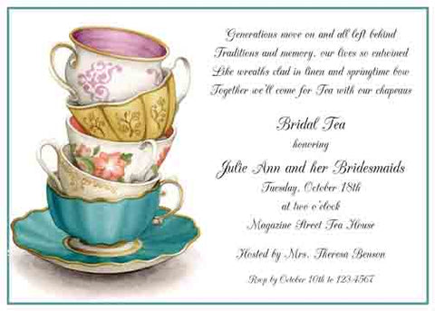 BEAUTIFUL STACKED TEA CUPS CUSTOM INVITATION