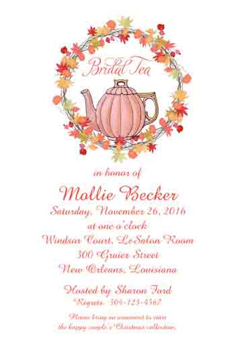 TEA POT AND FALL WREATH CUSTOM INVITATION