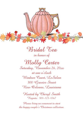 TEAPOT AND FALL GARLAND CUSTOM INVITATION