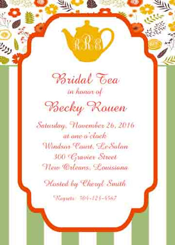 SILHOUETTE TEA POT, FALL FLOWERS AND STRIPES CUSTOM INVITATION