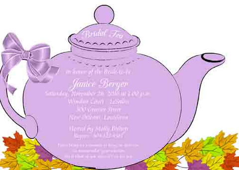 LARGE SILHOUETTE TEA POT CUSTOM INVITATION