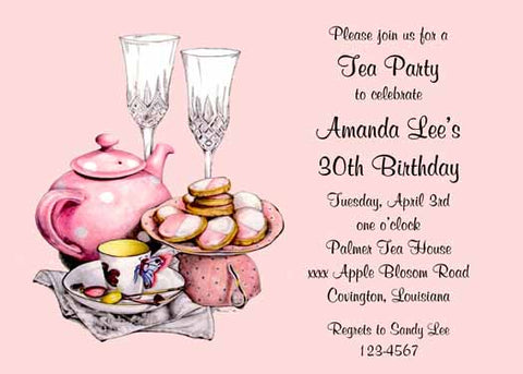 TEA, BISCUITS AND CHAMPAGNE CUSTOM INVITATION