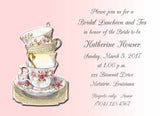 STACKED VINTAGE TEA CUPS CUSTOM INVITATION