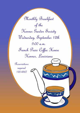 COFFEE OR TEA SET CUSTOM INVITATION