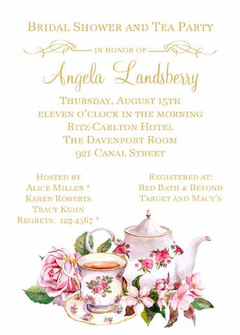 ENGLISH TEA SET CUSTOM INVITATION