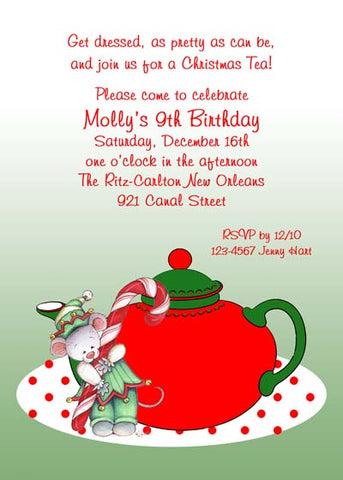 CHRISTMAS GIRL MOUSE AND TEA CUSTOM INVITATION