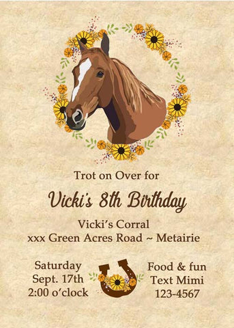 HORSE HEAD AND FLOWERS CUSTOM INVITATION