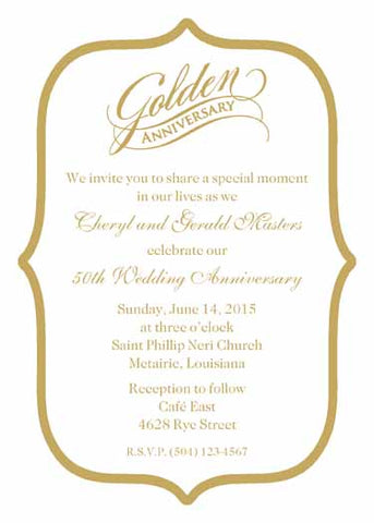 GOLDEN ANNIVERSARY MOTIF CUSTOM INVITATION