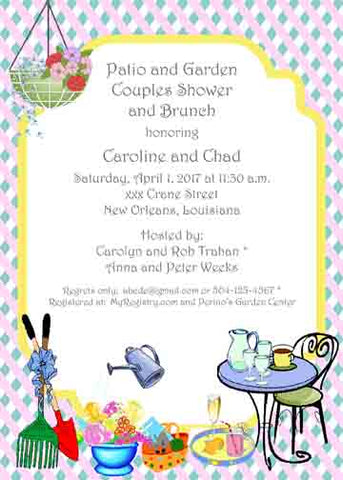 PATIO-GARDEN COUPLES SHOWER CUSTOM INVITATION