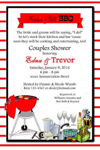 BBQ KITCHEN AND BAR SHOWER CUSTOM INVITATION