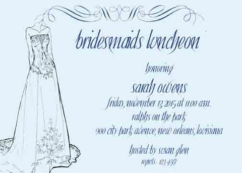 BRIDAL GOWN SILHOUETTE CUSTOM INVITATION