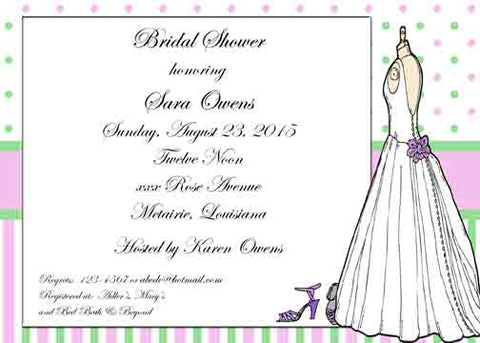 BRIDAL GOWN MANNEQUIN DOTS CUSTOM INVITATION