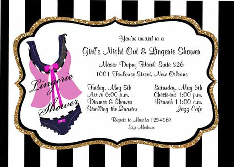 BLACK AND PINK LINGERIE CUSTOM INVITATION