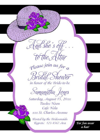 STRAW HAT AND ROSES CUSTOM INVITATION