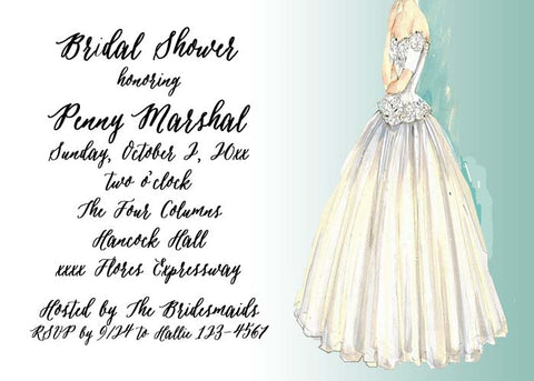 WEDDING GOWN CUSTOM INVITATION