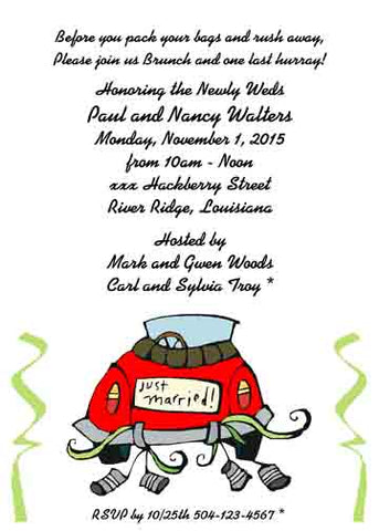 WHIMSICAL GET AWAY CAR CUSTOM INVITATION