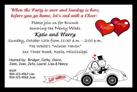CARTOON COUPLE IN CAR CUSTOM INVITATION