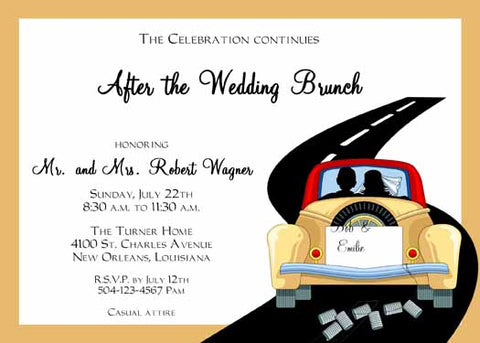 BRIDAL COUPLE IN CAR CUSTOM INVITATION