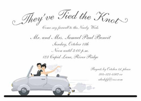 GET AWAY CAR AND COUPLE CUSTOM INVITATION