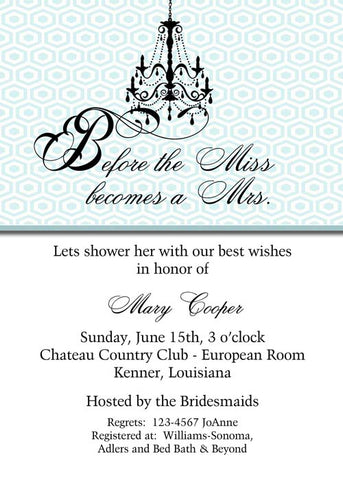 BLACK CHANDELIER CUSTOM INVITATION