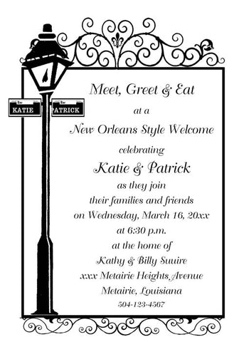 NEW ORLEANS LAMPPOST BACKGROUND CUSTOM INVITATION