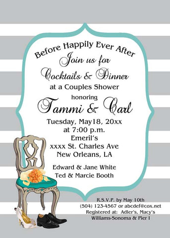 WEDDING CHAIR AND BOUQUET BACKGROUND CUSTOM INVITATION