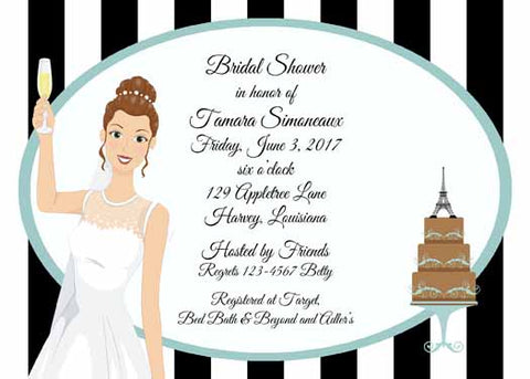 BRIDE WITH PARISIAN THEME CUSTOM INVITATION