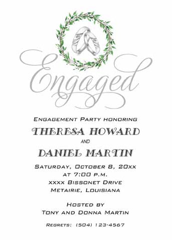 SILVER RINGS WITH GREENERY THEME CUSTOM INVITATION