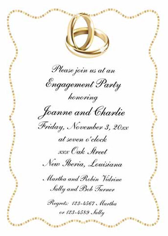 GOLD WEDDING RINGS CUSTOM INVITATION