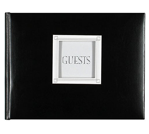 CUSTOMIZABLE BLACK LEATHER GUEST BOOK