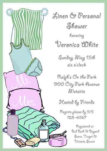 LINENS AND PERSONAL CUSTOM INVITATION