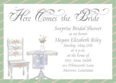 FLORAL CHAIR AND TABLE CUSTOM INVITATION