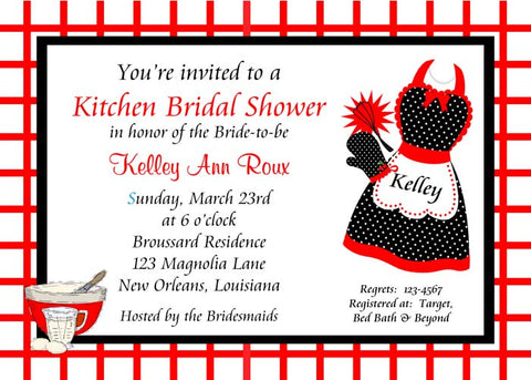 RED AND BLACK APRON AND KITCHEN SHOWER CUSTOM INVITATION