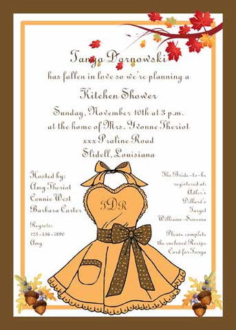 FALL APRON CUSTOM INVITATION
