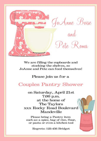 FLORAL MIXER KITCHEN SHOWER CUSTOM INVITATION
